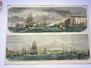 AUSTRALIA SYDNEY HARBOUR 1868 THE ILLUSTRATED LONDON NEWS LARGE ANTIQUE VIEW