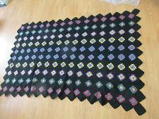Vintage 1950's Afgan Crochet Granny Flower Square Handmade 72x48 Blanket (t)