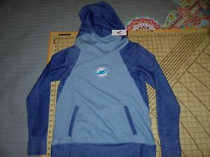 WOMENS SMALL BLUE ANTIGUA DOLPHINS ADORNED COWL NECK HOODIE - NWT