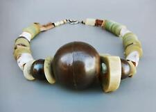 SWEDISH SCANDINAVIAN COWRIE SHELL WOOD AND COPPER ORB BOHO NECKLACE