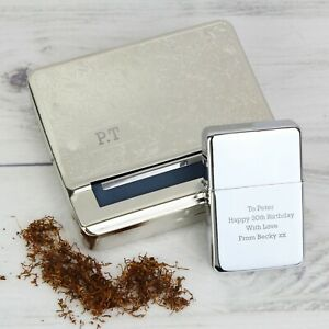 Personalised Engraved Cigarette Tobacco Rolling Tin & Silver Lighter Gift Set