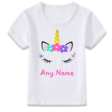 Personalised Name Summer Unicorn Eyes T-Shirt Childrens Kids T Shirt Girls Women