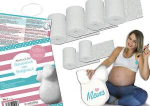 Baby Bauch Abdruck Set + Aufhängung vom Profi, 6 St. Gipsbinden Babybauch