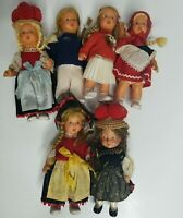 Lot of 6 Vintage Mini Plastic Western Germany Dolls Sweetheart Dancing Doll