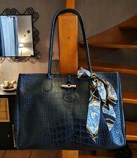 Longchamp sac vintage modèle roseau GM cuir facon croco noir offre possible