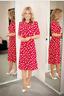 BNWT LK Bennett MONTANA RED SAIL PRINT SILK TEA DRESS size UK8 US4