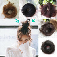 Invisible Women Real Natural Curly Messy Bun Hair Piece Scrunchie Hair Extension