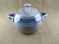 Vintage Salt Glazed Stoneware Covered Crock with Handles Bean Pot Blue