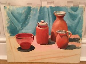 VINTAGE STILL LIFE POTS OIL PAINTING LOVELY COLOURS BLOOMSBURY LOOK