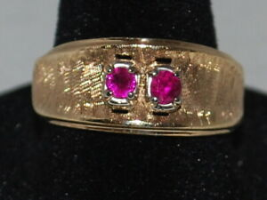 10k Gold Ring With A Pair Of Rubies (July birthstone) In A Brushed Gold Design