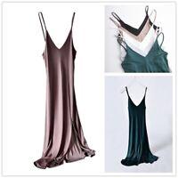 Ladies Silk Slip Dress Camisole Petticoat Strap Nightdress Slit V Neck Spaghetti