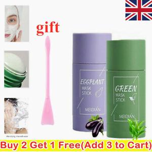 Green Tea Eggplant Purifying Stick Mask Oil Control Anti-Acne + Facial Brush UK