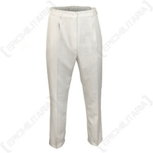 Original British Womens White Military Trousers - Surplus Army Navy RAF Cotton
