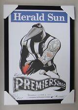 AFL COLLINGWOOD MAGPIES PREMIERS 2010 HERALD SUN WEG framed POSTER BLACK WOODEN