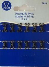 Coats Crafts - Hooks & Eyes - Black - 12 x #1 - C052