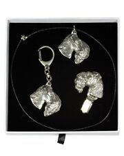 Kerry Blue Terrier - keyring, necklace, clip, set in white box, Art Dog Usa