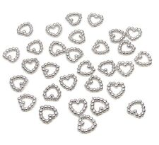 200 SILVER PEARL HEART SHAPED DOUBLE SIDED 11MM TABLE DECORATION SCATTER BEADS