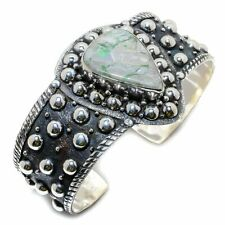 Variscite Gemstone Handmade 925 Sterling Silver Cuff Bracelet Adjustable