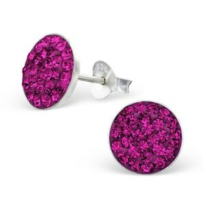 925 Sterling Silver Round Fuchsia Crystal Stud Earrings 9mm Girls Ladies Boxed