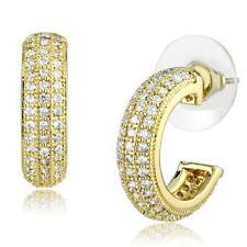 W1261 18KT GOLD GP HOOP HOOPS PAVE EARRINGS SIMULATED DIAMONDS HANDMADE