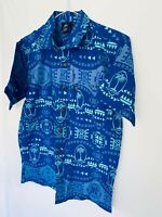 Official Licensed Product Fiji Rugby Hawaiian Style Blue Shirt Size S