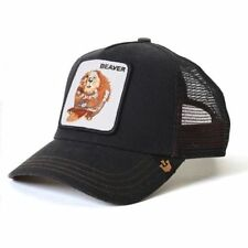 "Goorin Bros. Animal Farm Trucker Snapback Hat Cap Waxed BLACK/""Beaver"""
