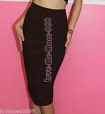 High Waisted Wear to Work Business Career Straight Pencil Long Knee Skirt MEDIUM