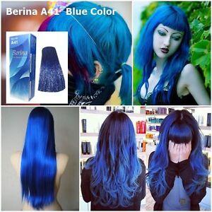 BERINA NO# A41 COLOR HAIR CREAM BLUE DYE SUPER COLOR PERMANENCE