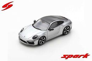 S7834 Spark: 1/43 Porsche 992 Carrera 4S 2019 Silver with Carbon Fiber Roof