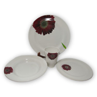 Made in Portugal PB  White Red Floral Dinnerware 4 Piece Setting Plate Cup Bowl