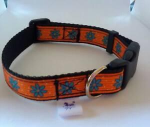 Orange flower print adjustable dog collar small size