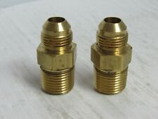 "NEW LOT OF 2 PARKER BRASS MALE CONNECTOR 8-8FTX-B 1/2"" FLARE 1/2"" MNPT"