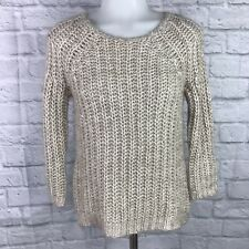 Anthropologie Knitted & Knotted XS Sweater Beige Sequins Pullover
