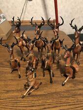 Antique /Vintage Set Of Hard Plastic Celluloid Reindeer ! 9 In All