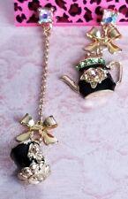 Betsey Johnson Black Enamel Crystal Bowknot Teapot Cup Stud Dangle Earrings