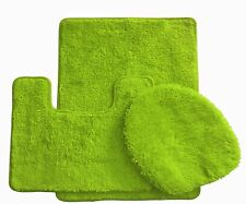 3 Piece Luxury Acrylic Bath mat set Made with 100% Polypropylene. (Lime Green)