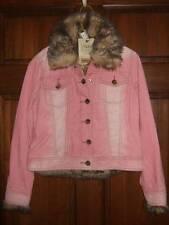 NWT THE CHILDREN'S PLACE pink corduroy jacket removable faux fur cuffs vest XS 4
