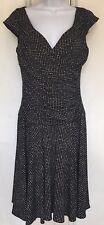 Tahari Arthur S Levine Dress Size 10 Black Beige Polka Dots