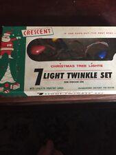 Vintage Crescent Christmas Tree Lights 7 Light Twinkle Set Works