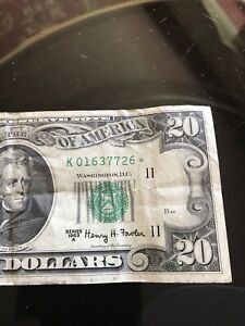 1963 A Series 20$ Note Wt Star Note*K01637726*
