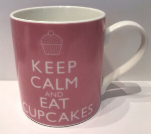 "Pink  Kent Pottery mug  -""Keep Calm & Eat Cupcakes Coffee Tea Cup"