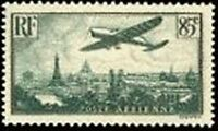 "FRANCE TIMBRE STAMP AVION N° 8 "" AVION SURVOLANT PARIS 85c "" NEUF xx TTB"