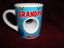 """Best Grandpa in the Whole Wide World Coffee Mug 4""""x3"""" Actual Hole in the Cup NEW"""