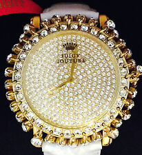 NEW JUICY COUTURE LIMITED GOLD CRYSTALS  ALLOVER WHITE LEATHER BRACELET WATCH