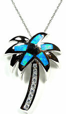 Blue Fire Opal Inlay & White Topaz 925 Sterling Silver Palmtree Necklace 18''