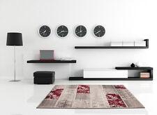 Moderne Teppiche Patchwork Flachflor Designer NEU Angebot Grau Rot 80x150
