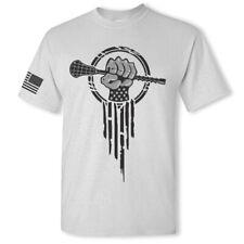 Lacrosse short sleeve t-shirt - patriotic lacrosse stick superhero sport t shirt