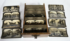 Mixed Lot of 89 Old Keystone Photographic Stereoviews in Antique Oak Drawer