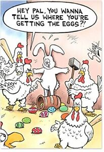 0022 Getting the Eggs Naughty Humor Easter Greeting Card with Envelope
