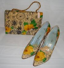 VTG Saks Fifth Avenue Pacelle Exclusive Floral Shoes 7.5 AA and Purse